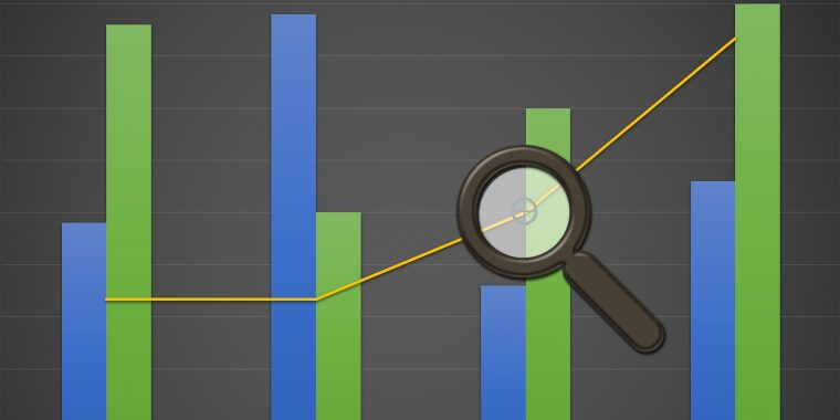 Magnifying glass on chart illustrates value of site search as market research.
