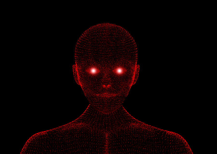 Red Evil. Wireframe Model With Connection Lines On Black Backgro