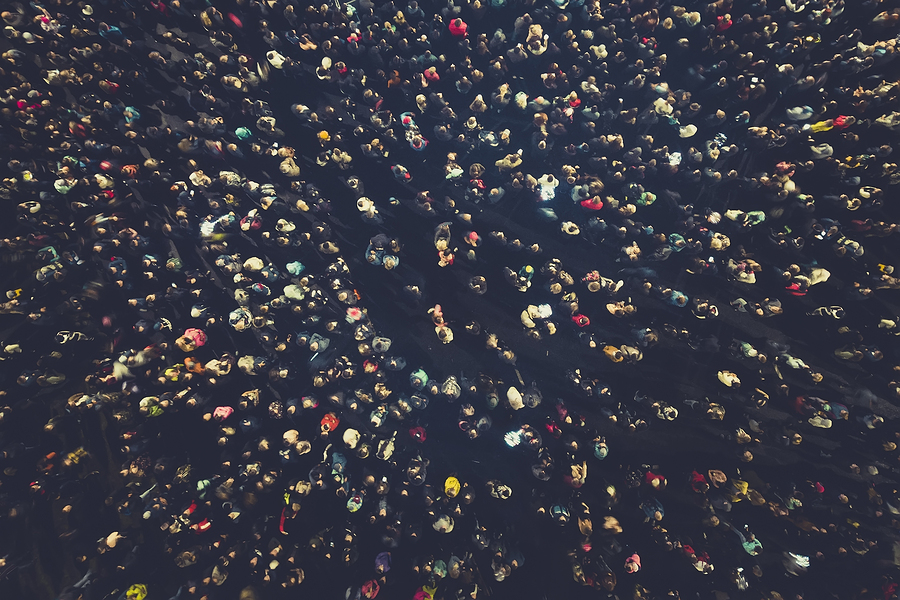 Crowd People Background. An Aerial Shot Of The People Gathered F