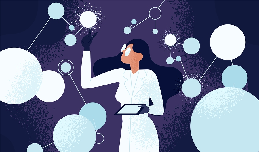 Female Scientist In Lab Coat Checking Artificial Neurons Connect