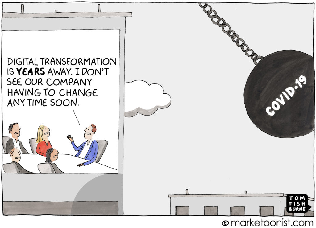 Cartoon illustrating the Covid-19 wrecking ball about to hit a bunch of company executives in denial about the importance of digital transformation.