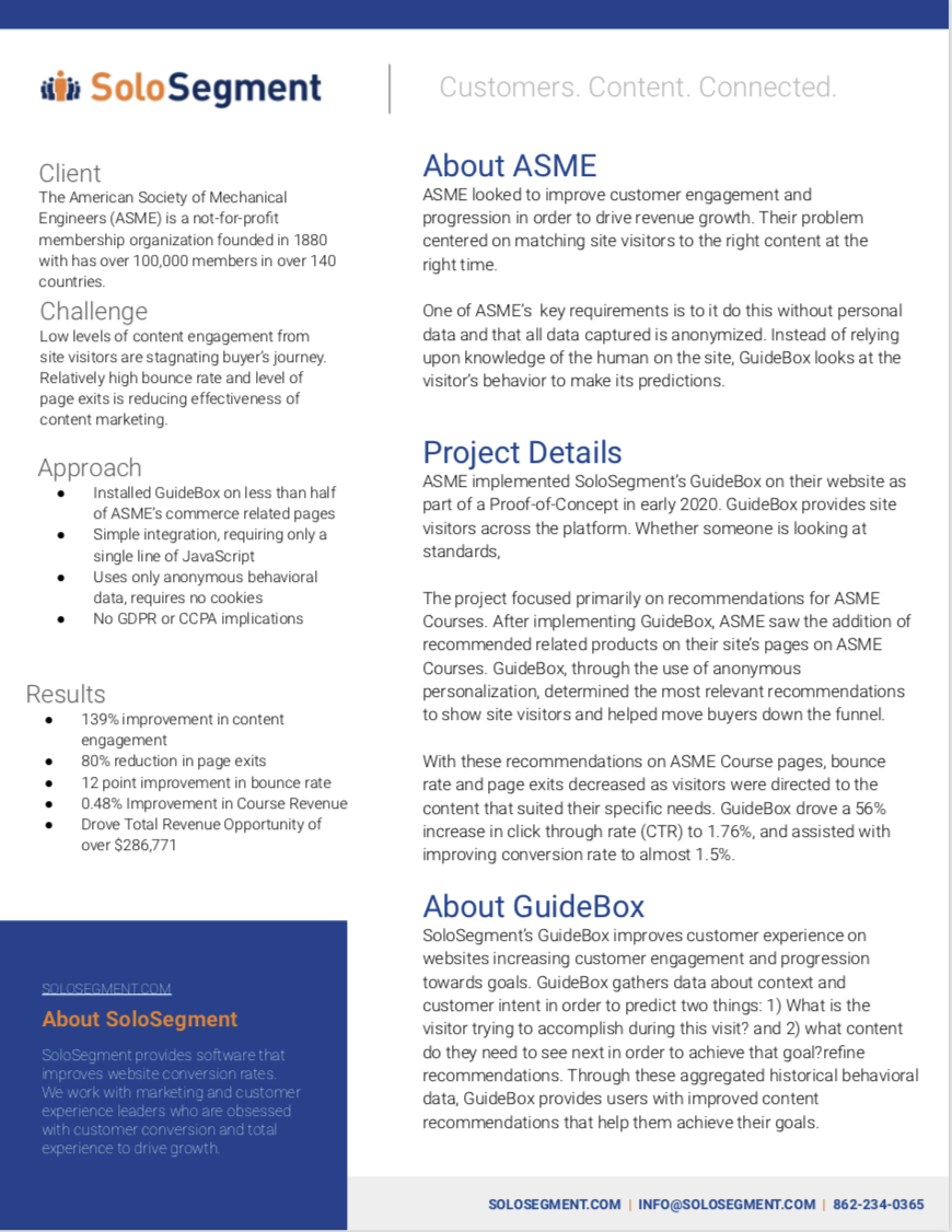 Link to ASME B2B Website Personalization with SoloSegment GuideBox case study